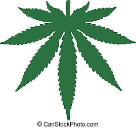 Marihuanablätter auf den Kopf.