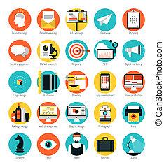 Marketing und Design Dienstleistungen flache Symbole gesetzt