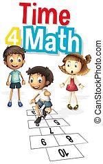 mathe, schriftart, wort, zählen zeit, zahlen, 4, design, kinder