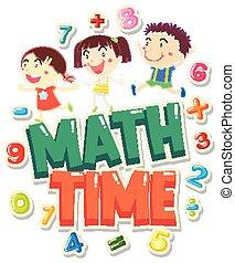 mathe, wort, zeit, 4, design, kinder, glücklich