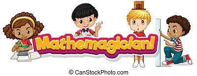 mathemagician, design, wort, glücklich, kinder, schriftart