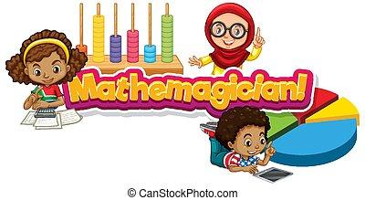 mathemagician, wort, glücklich, design, schriftart, kinder