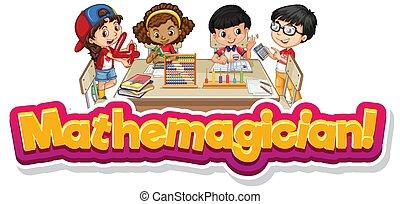 mathemagician, wort, schablone, design, schriftart, klassenzimmer, kinder