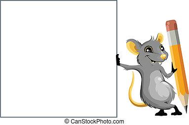 Maus mit einem Bleistift.