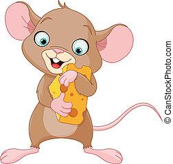 Maus mit einem Stück Käse.