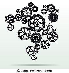 mechanismus, hintergrund, gearwheel