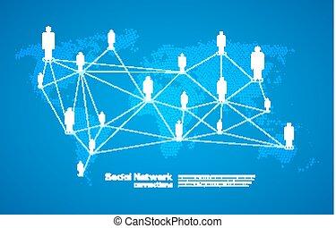 medien, anschluss, welt, kommunikation, leute, abbildung, sozial, landkarte, concept., vernetzung