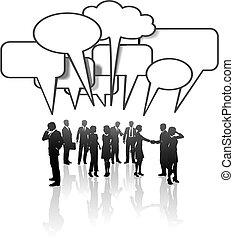 Medien-Medien-Geschäftsleute-Team reden