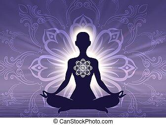Meditation Yoga Frau Silhouette.