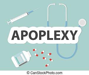 medizin, -, apoplexy, vektor, abbildung, begriff