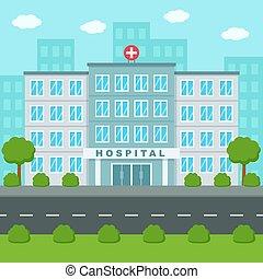 medizin, center., gebäude, vektor, wohnung, draußen., klinikum, abbildung