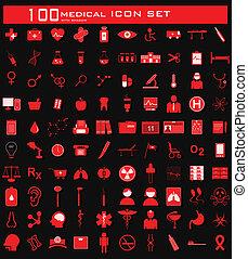 medizin, hundert, satz, ikone