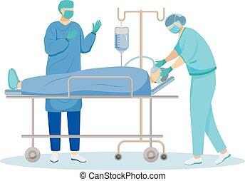 medizin, karikatur, resuscitation., intern, patient, chirurgisch, chirurgie, weißes, illustration., medicine., betrieb, wohnung, begriff, freigestellt, hintergrund, anästhesist, chirurg, characters., verfahren, vektor