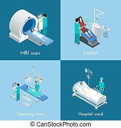 Medizinische Ausrüstung isometrische 4 Ikonen Quadrat.