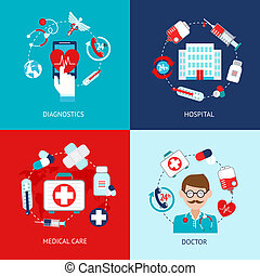 Medizinische Ikonen sind flach.
