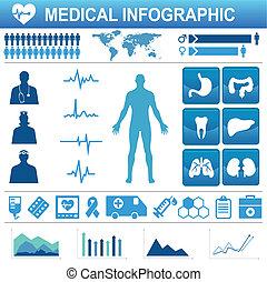 Medizinische Ikonen und Datenelemente, Infograp.
