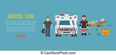 medizinische krankheit, vektor, illustration., doktoren, sanitäter, krankenwagen, service, patient, mannschaft, notfall