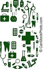 Medizinische Schrift. Alphabet aus Medizinpillen. Nummer 3