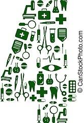 Medizinische Schrift. Alphabet aus Medizinpillen. Nummer 4