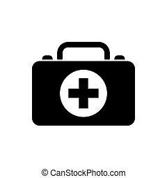 medizinische tasche, ikone