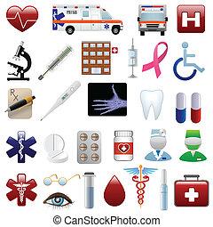 Medizinische und Krankenhaus-Ikonen eingestellt