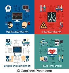 Medizinische Untersuchung 4 flache Ikonen Quadrat.