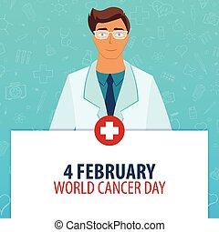 Medizinischer Feiertag. 4. Februar. Weltkrebstag. Vector Medizin Illustration.