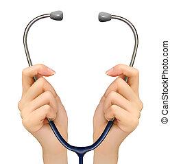 Medizinischer Hintergrund mit einem Stethoskop. Vector.