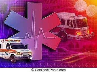 Medizinischer Rettungswagen, abstraktes Foto