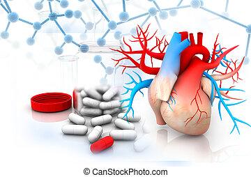 medizinprodukt, herz, bild, menschliche , virtuell
