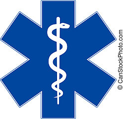 Medizinsymbol, Lebensstern, isoliert auf weiß