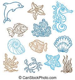 Meeresleben-Doodles - Hand gemalte Sammlung in Vektor