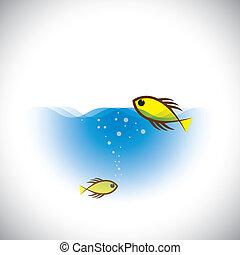 Meereslebensvektor-Konzept - bunte Fische im Ozean.