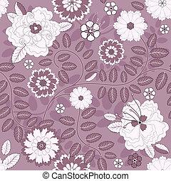 Meeresloses violettes Blumenmuster