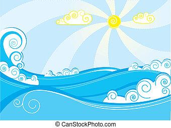 Meereswellen abschalten. Vektor Illustration auf blauweiß