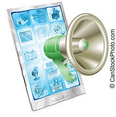 Megaphon-Icon-Telefon-Konzept