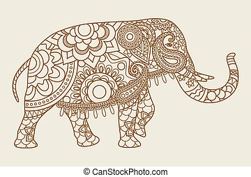 Mehendi Indian Elefanten Ikonen Vintage Farben