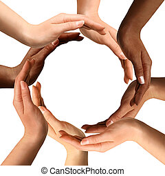 Mehrere Hände, die einen Kreis bilden