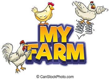 mein, design, hühner, drei, schriftart, bauernhof, wort