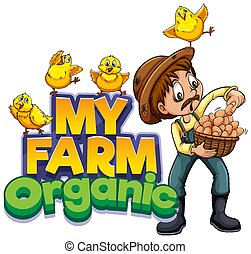 mein, design, landwirt, hühner, schriftart, bauernhof, wort