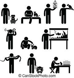 Mensch und Haustiere pictogram