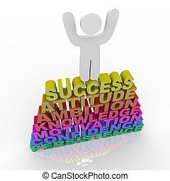 Menschen, die Erfolg feiern - atop words