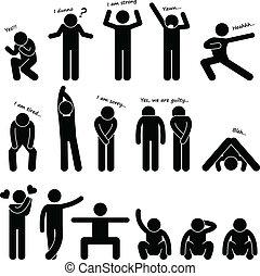 Menschen halten Körpersprache