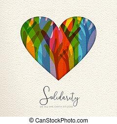 Menschen-Solidar-Tags-Karte von Händen vereint in Herzen