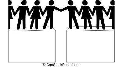 Menschengruppen erreichen eine Verbindung