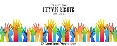 Menschenrechtstag Banner der verschiedenen Menschen Hände.