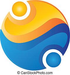 Menschenteam um das Welt-Logo
