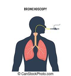 menschliche , examination., lunge, emphysem, endoskopie, bronchoscopy, system, ikone, atmungs