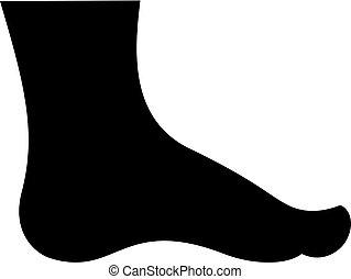 Menschliche Fußsilhouette.