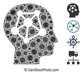 menschliche , neural, collage, coronavirus, vernetzung, heiligenbilder